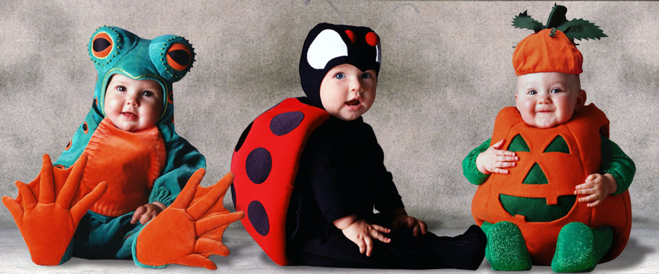 Frog, Ladybug, and Pumpkin baby costumes from the Tom Arma Signature collection for Halloween designed by renown baby photographer Tom Arma.