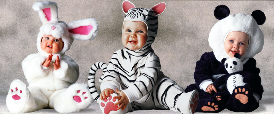 Bunny, White Tige with doll, and Panda baby costumes from the Tom Arma Signature collection for Halloween, designed by renown baby photographer Tom Arma